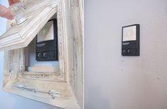 Hidden Garage Door Opener - 21 Ingenious Ways to Hide The Mess And The Eyesores In Your Home Garage Door Opener, Garage Doors, Home Renovation, Home Remodeling, Thermostat Cover, Hide Wires, Home Organisation, Hidden Storage, Organizing Your Home