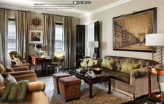 Interesting layout: Coffee table and ottomans. Then the desk is in an unusual spot. Elegant, European-Inspired Home Traditional Home Magazine, Traditional Decor, Traditional House, Interior Design Magazine, Best Interior Design, Interior Decorating, Decorating Ideas, Decor Ideas, Living Room Modern