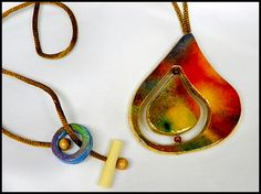 watercolor jewelry   Watercolor Paper Pendant with Beads, by Ross Barbera