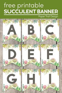 Use these succulent banner letters to create a fun custom banner for a wedding, birthday party, or baby shower. #papertraildesign #succulent #succulents #succulentbanner #succulentletters #succulentbannerletters #birthday #wedding #babyshower Free Printable Calendar, Templates Printable Free, Free Printables, Party Printables, Banner Letters, Diy Banner, Purple Birthday, Floral Banners, Paper Trail