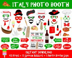 Italy Photo Booth Props–55 Pcs (43 Props,11 Speech Bubbles,1 Photo Booth Sign)-Printable Italy Travel Props-DIY Italian Party Props