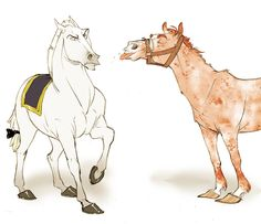 Makani does Lucius Malfoy and Arthur Weasley as horses. perfect.