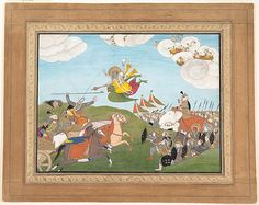 Vishnu as Varaha, the Boar Avatar, Slays Banasur, A Demon General: Page from an Unknown Manuscript, ca.1800. India (Punjab Hills, Guler). The Metropolitan Museum of Art, New York. Gift of Jeffrey Paley, 1974 (1974.221)   In this page, Varaha rides on Garuda, the avian mount of Vishnu, and has just used his thrown discus to behead a general riding in a chariot. #horses
