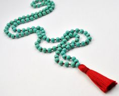 Turquoise and Red Silk Mala Beads Chalk by BuzzMeditations on Etsy, $70.00