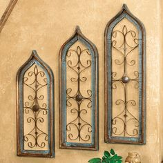 Distressed Turquoise Window Wall Hangings - Set of 3