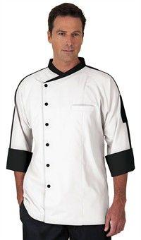 Men's Raglan 3/4 Sleeve Chef Coat - Snap Front Closure - 65/35 Poly/Cotton