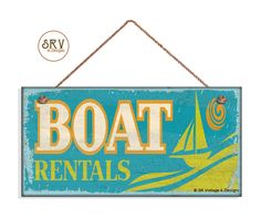 """Boat Rentals Sign, Weathered Beach Sign, Weatherproof, 5""""x10"""" Wall Plaque, Beach House, Lake House, Made To Order by SRVintageandDesigns on Etsy"""