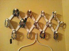 Bracelet storage solution solved ***made something like this. Bracelet Storage, Jewelry Storage, Diy Storage, Jewelry Organization, Storage Organization, Storage Ideas, Bracelet Holders, Jewelry Holder, Jewelry Wall
