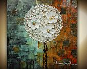 ORIGINAL White Blossoms Lollipop Tree Abstract Pallette Knife Oil Painting Thick Texture Gallery Fine Art by Susanna Ready to Hang 24x24