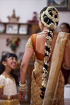 South indian bridal jewellery long silky hair flowers and jewelery