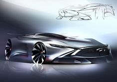 Infiniti has revealed the final images and details on the Concept Vision Gran Turismo, the virtual concept sportscar featured in the racing game. Car Design Sketch, Car Sketch, Lamborghini, Ferrari, Supercars, Peugeot, Jaguar, Gt Cars, Futuristic Cars