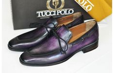 Mens Luxury Shoes : TucciPolo Mens Handcrafted Purple Italian Calfskin Luxury Slip on Loafers -ID Loafer Shoes, Loafers Men, Designer Dress Shoes, Custom Made Shoes, Italian Leather Shoes, Black Luxury, Luxury Shoes, Luxury Dress, How To Make Shoes