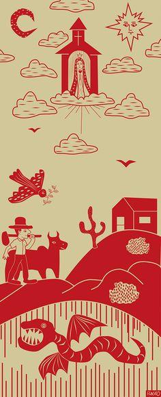 Arte baseada em Xilogravura de Cordel on Behance Arte Latina, Brazil Art, Popular Art, Arte Pop, Wood Engraving, Witchcraft, Iphone Wallpaper, Color Schemes, My Arts