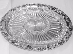 "Vintage Godinger Holly Berry Silver Plate w/5 Part Cut Crystal Insert 16"" x 12"" #Godinger #Godinger"