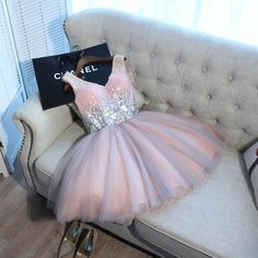 Cute v neck tulle sequin short prom dress, pink cute homecoming dress
