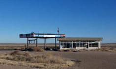 Route 66 is marked by many abandoned towns and service stations. This one is in Glen Rio, Texas, just before the New Mexico state line.