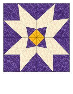 Snow Blossom Paper Pieced Quilt Block Pattern PDF by purpleblock, $2.99