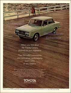 1970 Toyota Corolla Print Ad // Vintage by DoubleLMomEphemera