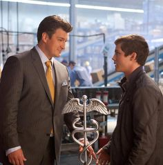 """Nathan Fillion as 'Hermes' and Logan Lerman as 'Percy' in """"Percy Jackson : Sea of Monsters"""" (2013)"""