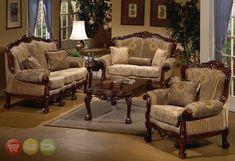 European Design Formal Living Room Set w/ Carved Wood HD-94