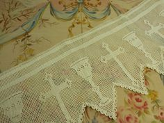 Antique French Church Altar Cloth....Antependium in Hand Worked Crochet ....Featuring Cross and Chalice.