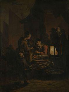 Egbert Lievensz. van der Poel | Fish market at night, Egbert Lievensz. van der Poel, 1640 - 1664 | Vismarkt bij avond. Een zittende vrouw verkoopt vis achter een stalletje bij het licht van een grote lantaarn. Op tafel ligt een grote zalm, voor de stal staan manden met vis. Een vrouw met een emmer aan de arm is vis aan het kopen. Links op de achtergrond de zeilen van een schuit.