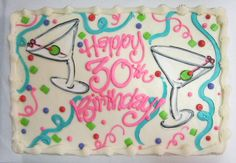 Confetti strewn martini birthday cake #icingonthecakelosgatos
