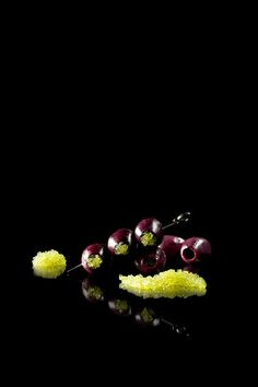 Red wine olives with wasabi caviar