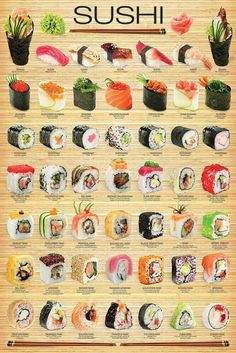 "I chose Eurographics amo ""sushi"" cartaz, Poster to represent Triadic Colors. Since Sushi is one of my favorite artistic treats. L'art Du Sushi, Sushi Food, Healthy Sushi, Sushi Dishes, Sushi Cake, Vegan Sushi, Dinner Healthy, Cuisine Diverse, Asian Recipes"