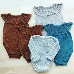 Knitted Baby Outfits, Knitted Baby Clothes, Crochet Clothes, Knitting For Kids, Baby Knitting Patterns, Baby Romper Pattern, Crochet Baby Bonnet, Baby Barn, Baby Leggings