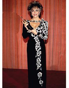 Elizabeth Taylor wearing Nolan Miller at the 1985 Golden Globes.