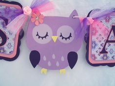 Baby shower owl banner its a girl OOAK by NancysBannerBoutique