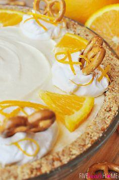Frozen Orange Creamsicle Pie with a Pretzel Crust | FiveHeartHome.com