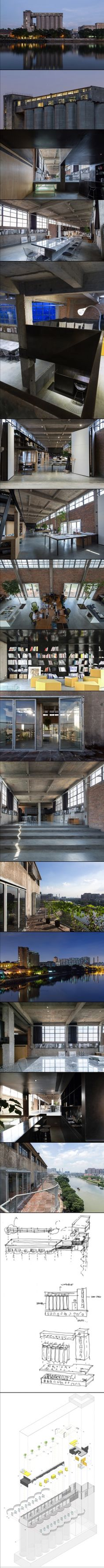 Silo-top Studio In 2012, O-office transformed the top floor of a 1960s' silo building in the oldest beer factory of Guangzhou, the central city of southern China. The 38-metre-high silo building locates on the south bank of one branch of the Pearl River, confronting the generic housing highrises and looking south to the city's old downtown. The top floor used to be the inlet level for the wheat berry to be fill in the 12 silo's below, thus full of square holes on it.