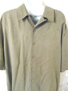 Caribbean Mens Hawaiian Shirt M Green 100% Silk Coconut Buttons #Caribbean #Hawaiian