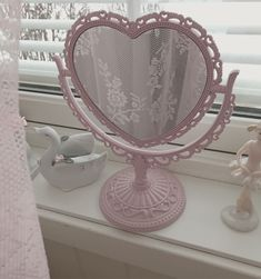 December 11 2018 at Angel Aesthetic, Aesthetic Rooms, Aesthetic Vintage, Pink Aesthetic, Makeup Aesthetic, My New Room, My Room, Imagenes Color Pastel, Heart Mirror