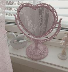 December 11 2018 at Angel Aesthetic, Aesthetic Rooms, Aesthetic Vintage, Pink Aesthetic, My New Room, My Room, Imagenes Color Pastel, Heart Mirror, Kawaii Room