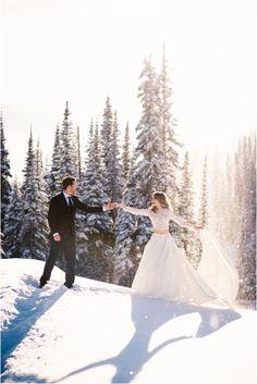 Long sleeve Winter wedding dress love! Sun Peaks Mountain Winter Wedding by Photographer Holly Louwerse Photography www.hollylouwerse.com