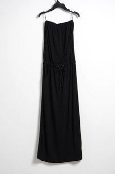 Solid Black Strapless Waist Slim Cotton Dress