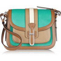Michael Kors|Gia Saddle color-block leather shoulder bag|NET-A-PORTER.COM
