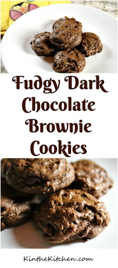 Moist and rich, these Fudgy Brownie Cookies taste just like a dark chocolate brownie in cookie form!