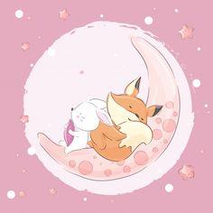 Little Fox Rabbit Sleeping On The Moon-vector Fuchs Illustration, Cute Illustration, Teddy Pictures, Cute Pictures, Nursery Paintings, Nursery Art, Fox Drawing, Fox And Rabbit, Cute Puns