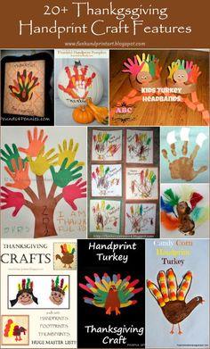 20+ Handprint & Footprint Thanksgiving Crafts #HandprintHolidays #kidsart