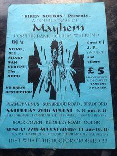 MAYHEM 1995 Bradford Colne Psybase Techno Rave Flyer     eBay Acid House, Bradford, Techno, Rave, Presents, Ebay, Black, Raves, Gifts
