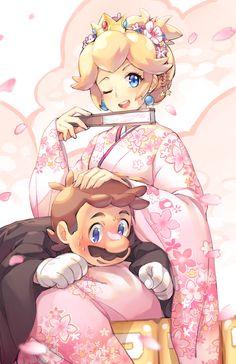 Princess Peach and Mario, Super Mario Bros series artwork by Gebyy-Terar.