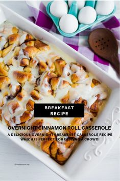 Breakfast Casserole Is The Perfect Way To Feed A Crowd, Especially If It's An Overnight Breakfast Casserole. Our Cinnamon Roll Casserole Is An Easy And Delicious Breakfast Recipe! Delicious Breakfast Recipes, Brunch Recipes, Yummy Food, Yummy Recipes, Dinner Recipes, Cinnamon Roll Casserole, Cinnamon Bread, Breakfast Dishes, Breakfast Ideas