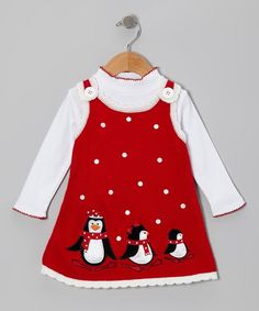 Take a look at this Gerson & Gerson Red Penguin Top & Knit Jumper - Infant, Toddler & Girls on zulily today! Toddler Fashion, Girl Fashion, Little Girl Dresses, Girls Dresses, Jumper Outfit, Striped Turtleneck, Baby Sewing, Kids Wear, Baby Dress