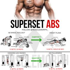 abs 6 pack six pack superset workout exercise shredded body… musclemorphsupps…. abs 6 pack six pack superset workout exercise shredded bodybuilding gym muscle Super Set Workouts, Easy Workouts, At Home Workouts, Bodybuilding, Fitness Motivation, Fitness Tips, Leg Raises Abs, Chest And Arm Workout, Outdoor Workout