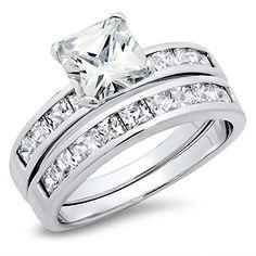 Princess Cut Cubic Zirconia 2.8 Carat tw Wedding Engagement Ring Set $13.99