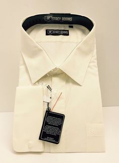Stacy Adams Solid Vanilla Men Long Sleeve Dress Shirt Pocket/French Cuffs #StacyAdams